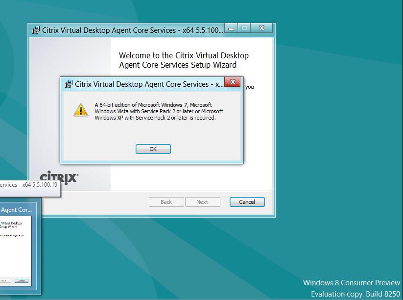 Citrix: Windows 8 CP and the VDA installation, how it still